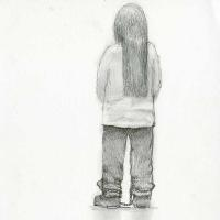 Drawing: Back of detainee wearing leg cuffs, ca. 2012–2014.