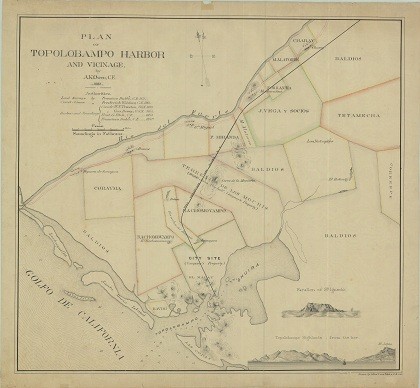 """Plan of Topolobampo Harbor and Vicinage, including the anticipated location of what was to be called """"Pacific City."""" Designed by colony founder Albert Kimsey Owen."""