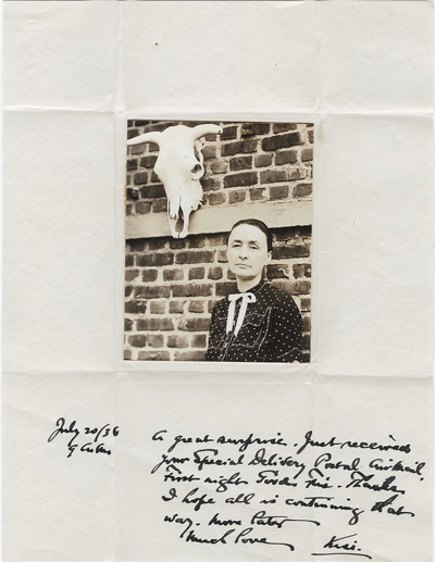 Photo of O'Keeffe with letter from Alfred Stieglitz.