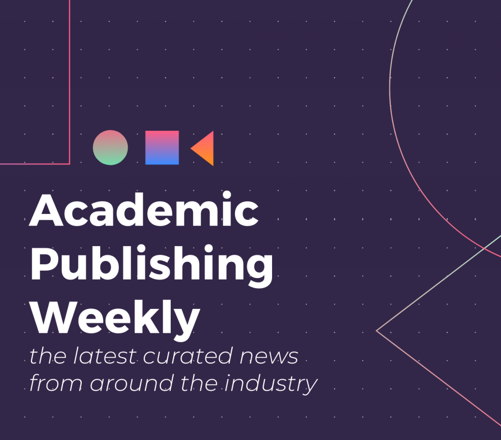 Academic Publishing Weekly graphic. Reads: Academic Publishing Weekly, the latest curated news from around the industry. Dark purple background with white lettering.
