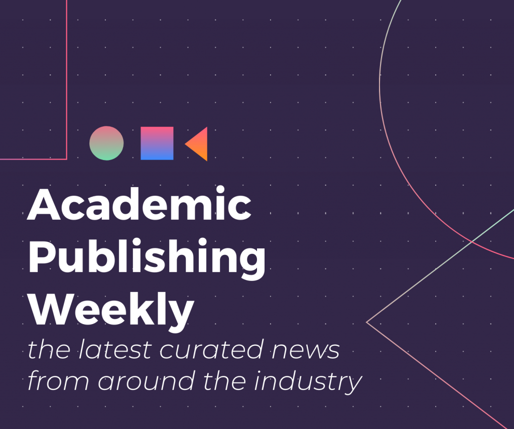 Academic Publishing Weekly graphic; reads: Academic Publishing Weekly, the latest curated news from around the industry. Dark purple background, white lettering.