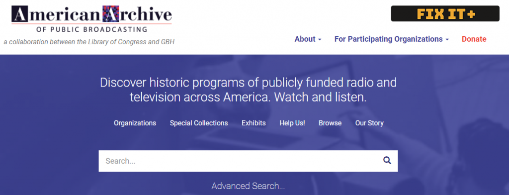 American Archives website screenshot