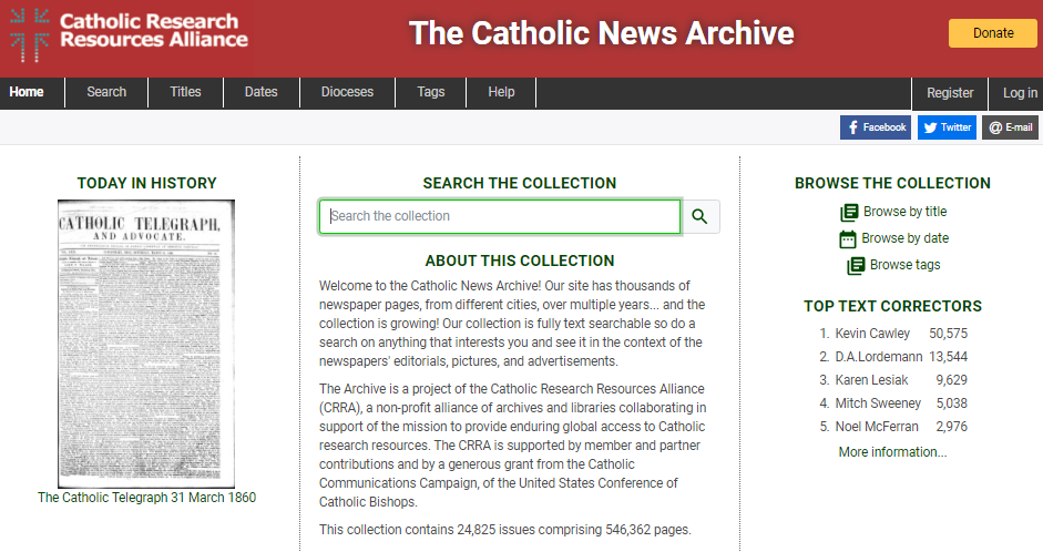 The Catholic News Archive homepage image