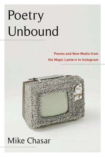 Book cover of Poetry Unbound. Photo of bedazzled television box. Black and red lettering on a white background.