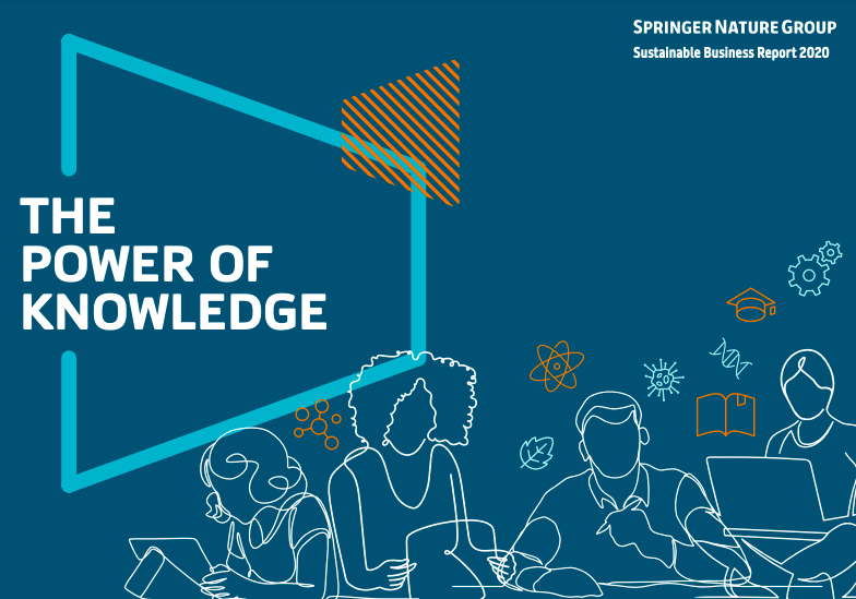 Springer Nature Sustainable Business Report graphic. Reads: The Power of Knowledge