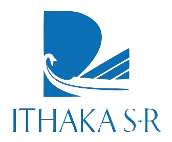 Ithaka S+R logo. White background and blue lettering.