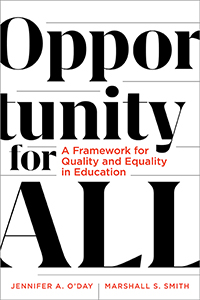 Opportunity for All: A Framework for Quality and Equality in Education book cover. Black and red lettering, white background.