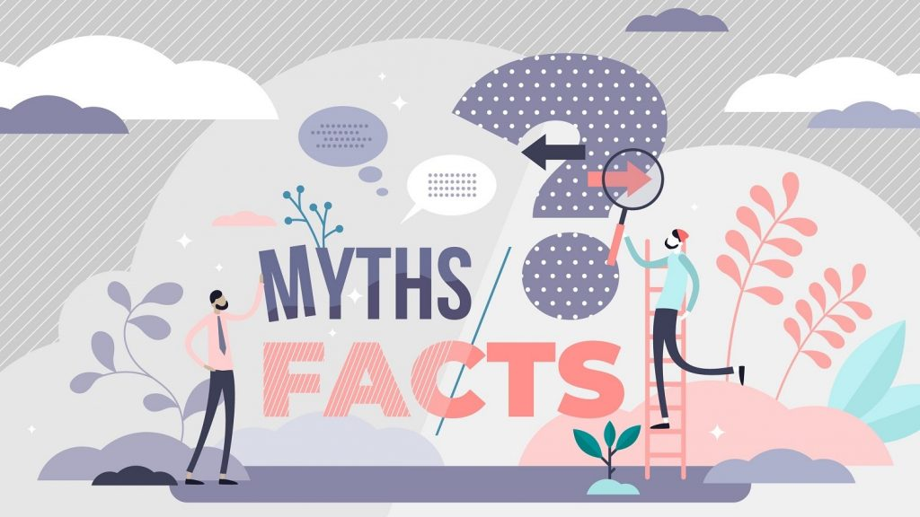 two people ponder myths or facts