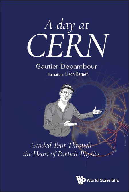 A day at CERN book cover. Dark blue background with person/guide gesturing to glowing circular lines.