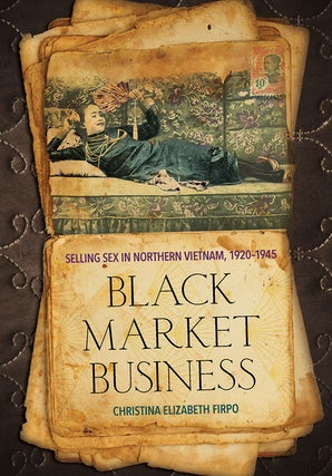 Black market business cover. Old parchment depicting figure lying on couch.